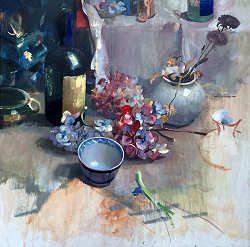 Hortensia's | schilderij van een stilleven in olieverf van Simeon Nijenhuis | Exclusieve kunst online te koop in de webshop van Galerie Wildevuur