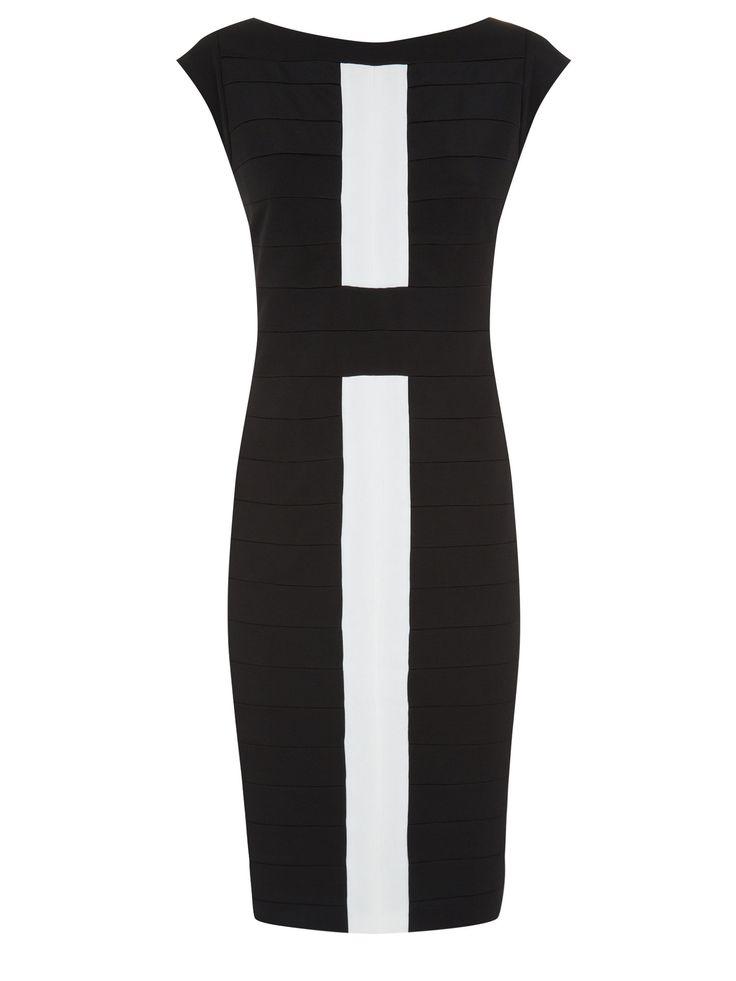 Planet Black & Ivory Bandage Dress