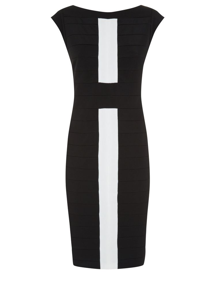 Planet Black & Ivory Bandage Dress