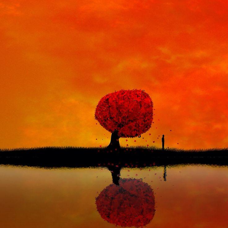 Eenzame boom met eenzame man