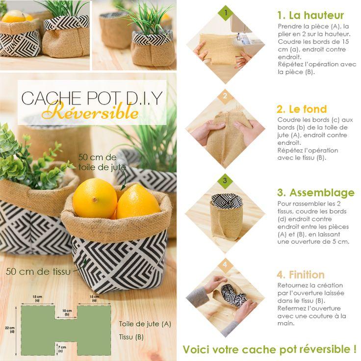 Tuto DIY : Réalisez un cache pot réversible en seulement 4 étapes à partir de tissu et de toile de jute !