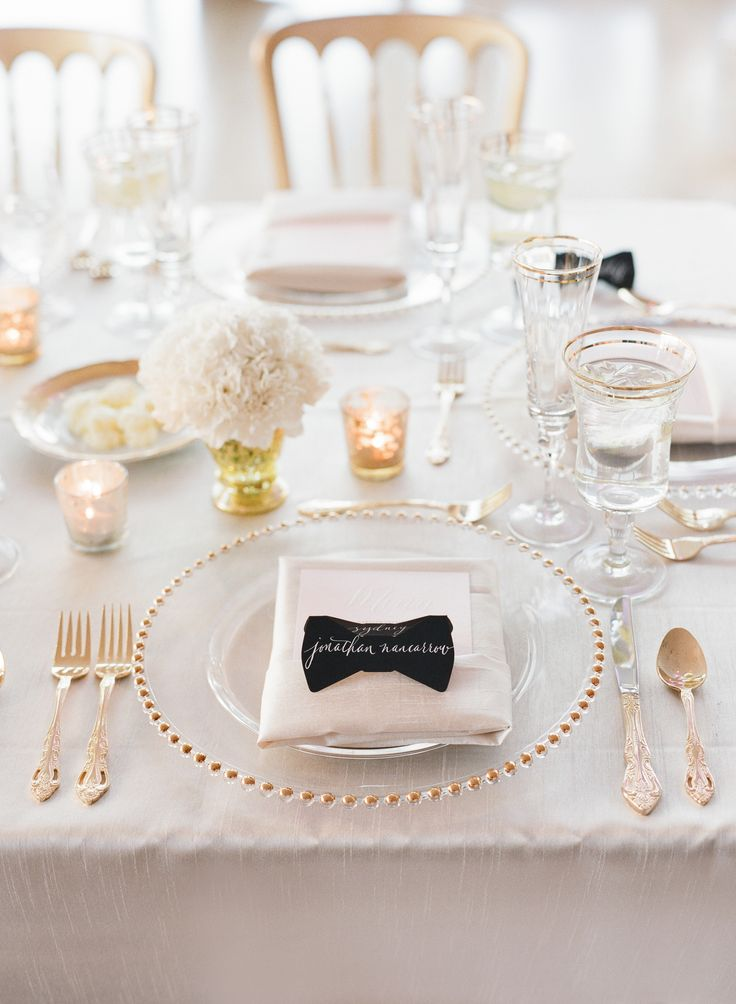 bow ties place cards romantic wedding