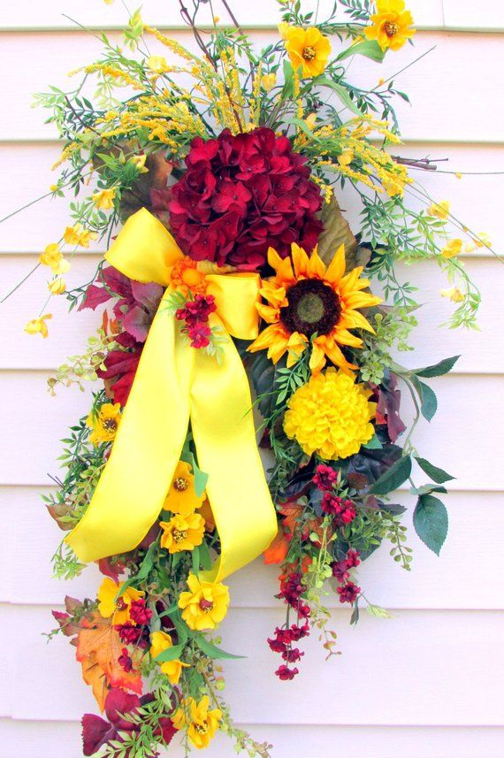 Fall Swag For Front Door Sunflower Wreath Fall Wreath Swag Fall
