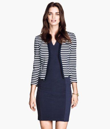 H&M Navy Striped Jersey Jacket/Blazer