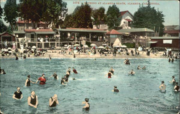 Vintage Postcard - Bathing At Alameda Beach, Alameda California