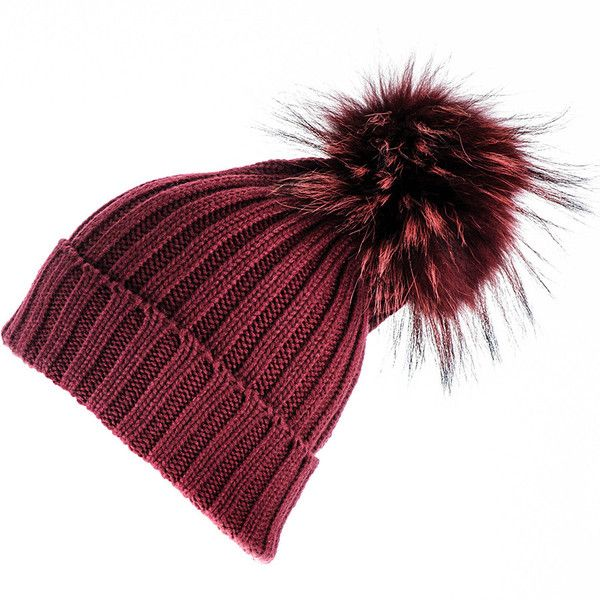 Black Burgundy Cashmere and Fur Bobble Hat (11.975 RUB) ❤ liked on Polyvore featuring accessories, hats, fox hats, fur pom pom beanie, pom pom beanie hat, fur hat and fur pom-pom hats