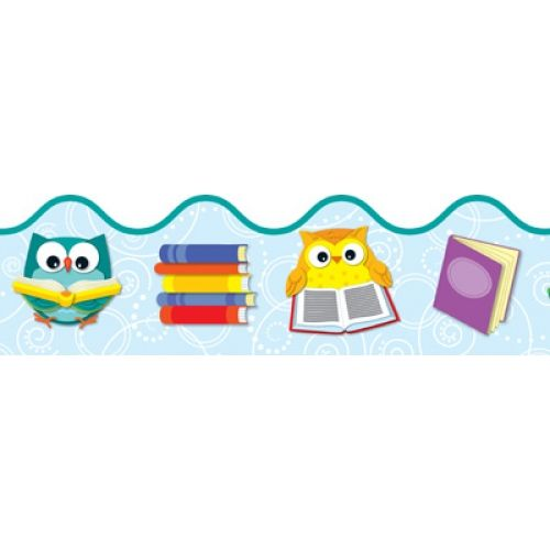"Whooo Loves Reading? Reading with Colorful Owls Scalloped Border. 2 1/4"" x 39', CD108175"