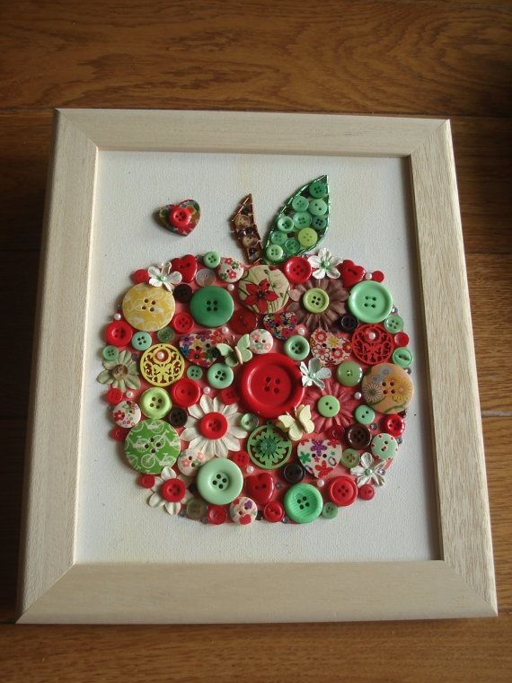 Handmade Canvas Wall Art using Buttons, Beads & Gems