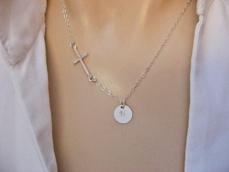 Side Cross Necklace, Initial Disc Necklace, Sterling Silver, Personalized Necklace, Mothers Necklace, Christian Necklace, Family Necklace