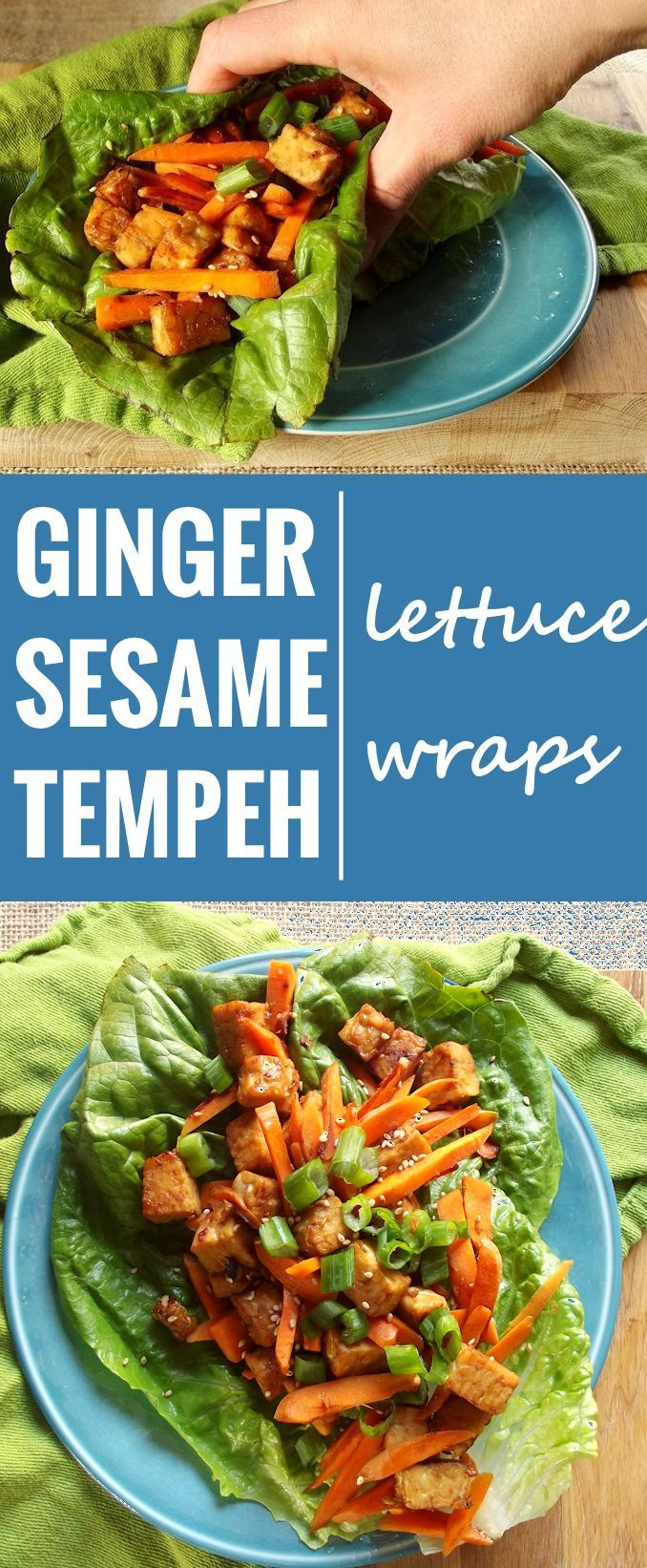 These tempeh lettuce wraps are made from crunchy lettuce leaves stuffed with pan-fried tempeh cubes in a savory sesame ginger sauce.