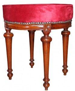 Casa Padrino Barock Sitzhocker   Rundhocker Bordeaux Rot/ Braun  Barock  Möbel Hocker Sitzhocker Medium