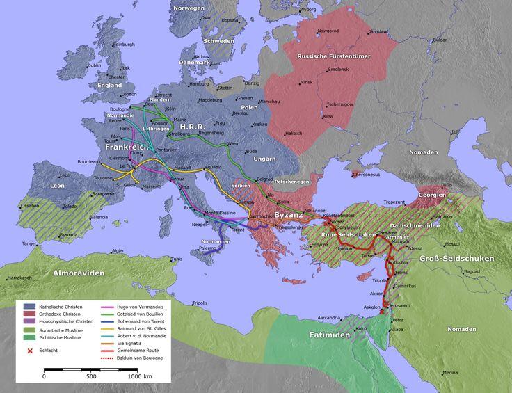Europa, Nordafrika und der nahe Osten während des Ersten Kreuzzuges
