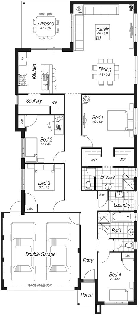 Main floor plan for 10118 narrow lot house plans Affordable floor plans