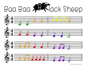 Baa Baa Black Sheep - Color Coded Beginner Piano Sheet ...