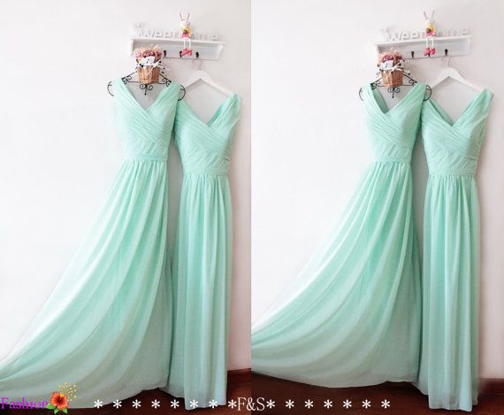 Mint Bridesmaid Dress,Ruched Prom Dress Under 100,Long Chiffon Prom…