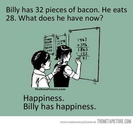 Billy has 32 pieces of bacon... #ABeginnersGuideToSalad #FoodHumour #FunnyBacon