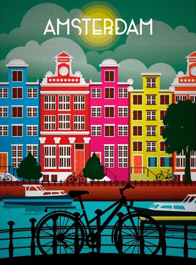 Amsterdam Poster | #poster #amsterdam Love this poster and loved the city. Would be cute framed.