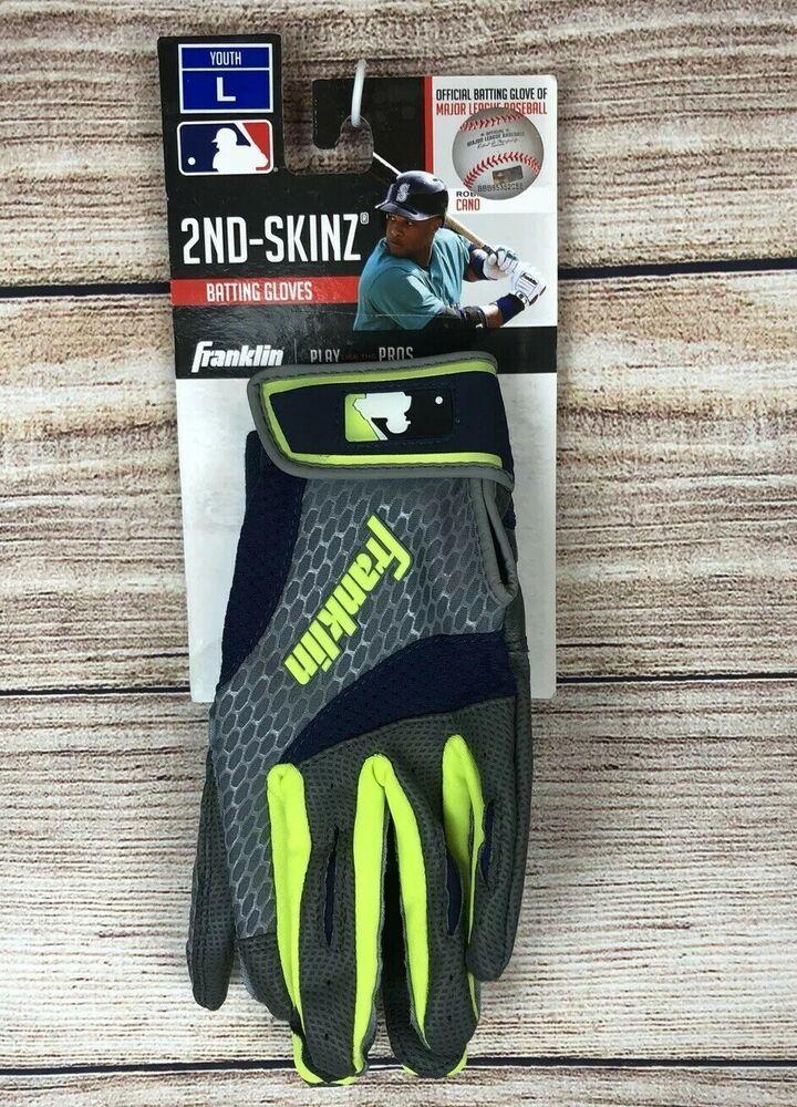 Franklin 2nd Skinz Youth Baseball Batting Gloves Neon Green Grey