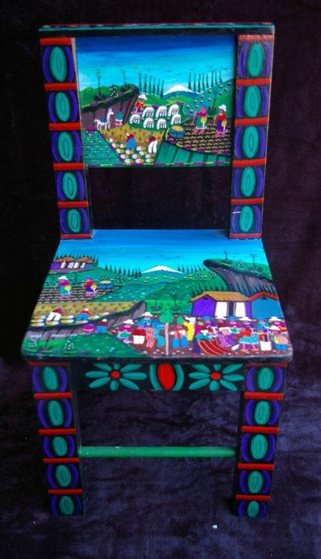 If I'd seen chairs or any sort of furniture of of thisTigua folk art tradition from Ecuador, I would have lugged it home. Instead I loaded up on paintings with a similar motif painted on leather. And wish I'd bought more.