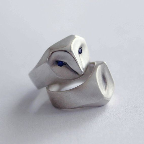 Owl Ring with Blue Sapphire Eyes, barn owl, animal jewelry, silver owl, owl jewelry