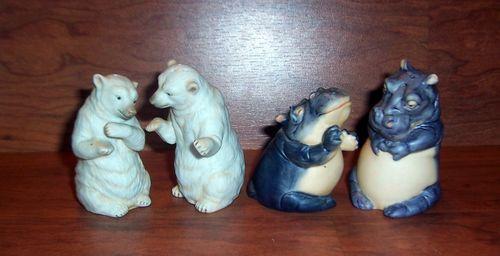 Lot 2 PR Noah's Ark FM Franklin Mint 87 Hippo 89 Polar Bear Salt Pepper Shakers   eBay