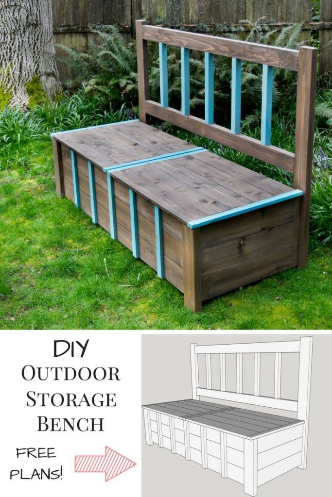 This DIY outdoor storage bench is the solution to your backyard clutter problem! Get the free woodworking plans at The Handyman's Daughter! | Free build plans | garden bench | garden storage | backyard storage | toy storage