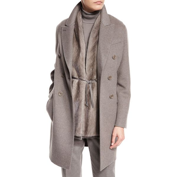 Loro Piana Barret Double-Breasted Cashmere Coat (1.710.320 HUF) ❤ liked on Polyvore featuring outerwear, coats, silver myrtle mel, brown coat, brown cashmere coat, double breasted coat, long sleeve coat and loro piana