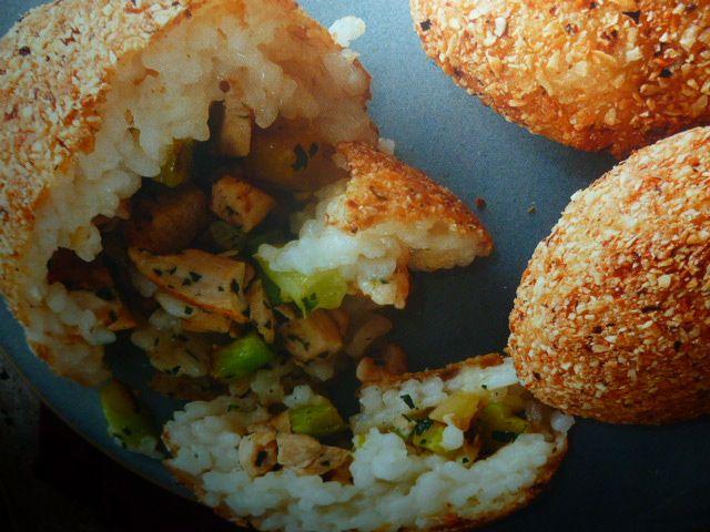 arancini di riso - con pollo e broccoli