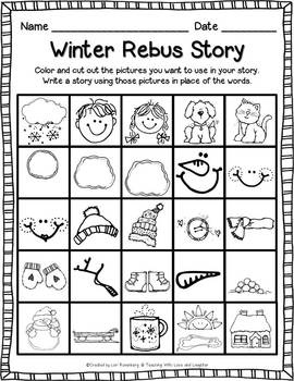 Winter Rebus Story {Free}. Would be great for D5 writing center!