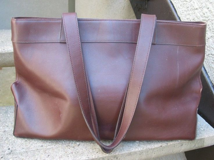 M LONDON Used Large Brown Leather Handbag Bag Purse Tote Satchel