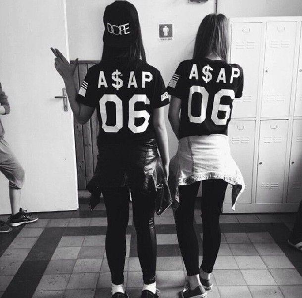 black and white t-shirt shirt ASAP Rocky asap mob girls shirt