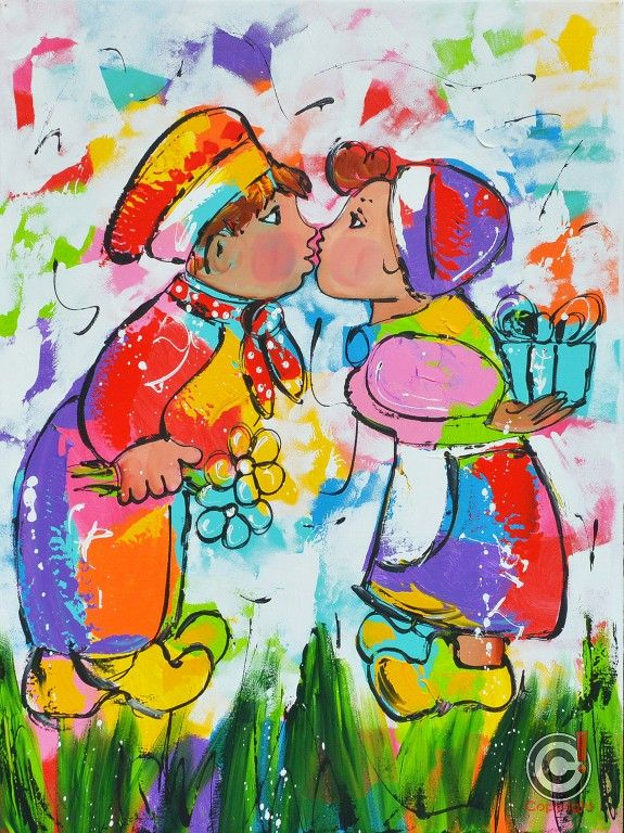 Dit is een: Acrylverf op doek, titel: 'Van harte gefeliciteerd' kunstwerk vervaardigd door: Liz