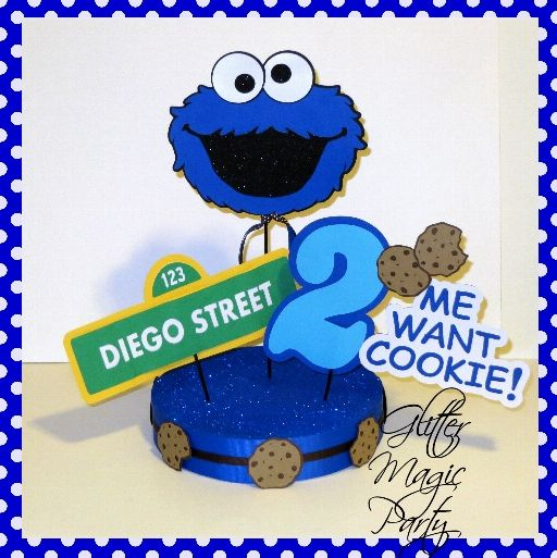 Cookie Monster Centerpiece Personalized Name and Age - Sesame Street - Sesame Street Party Decoration - Cookie Monster Party