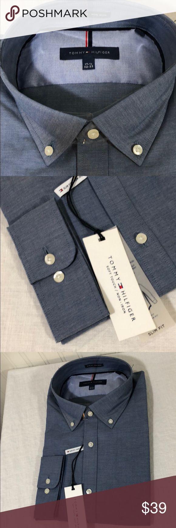 "Tommy Hilfiger Men's Slim Fit Non Iron Chambray Tommy Hilfiger Men's Slim Fit Non Iron Chambray Solid Dress Shirt, Denim, 17.5"". B90 Tommy Hilfiger Shirts Dress Shirts"