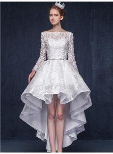 レース長袖プリンセスショート非対称の上品ドレス