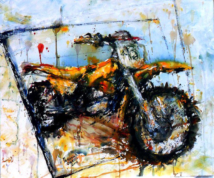 Acrylic, painting, moto-art, motorcycle, motocross, hand-draw, enduro