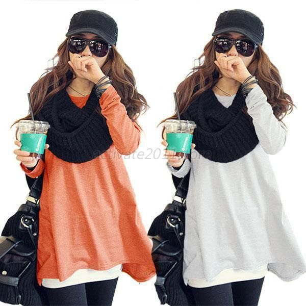 Women Casual Long sleeve Knitted Pullover Tops Loose Sweater Jumper Korean Tops #ZEHUI #Blouse #Casual