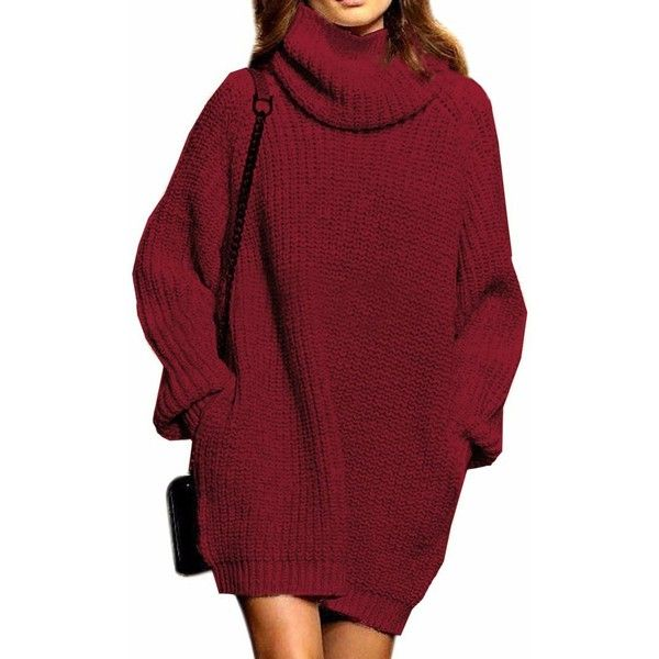 Fengtre Cashmere Loose Pullover Cowlneck Sweater Dress for Women(Wine... ($28) ❤ liked on Polyvore featuring tops, sweaters, cowl neck pullover, red pullover, red cowl neck sweater, pure cashmere sweaters and pullover sweater
