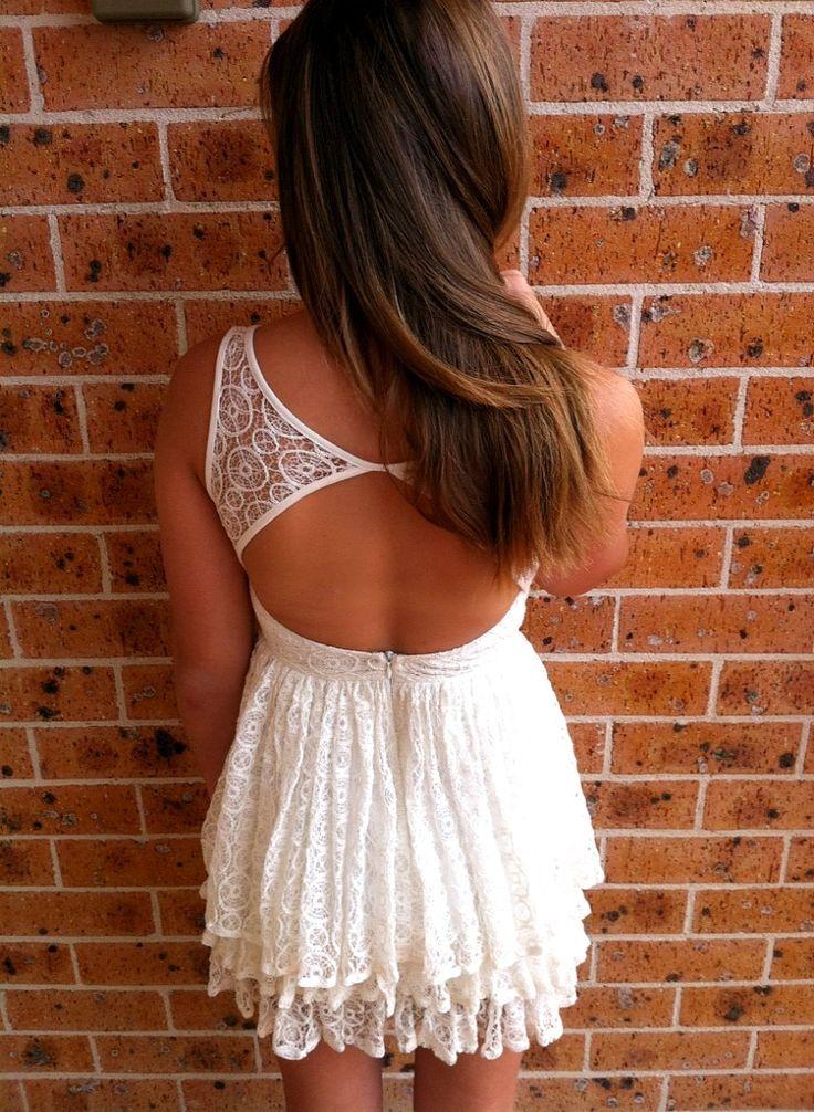 : Summer Attire, Summer Dresses, Hair Colors, Backless Dresses, White Lace Dresses, Grad Dresses, Little White Dresses, Open Back