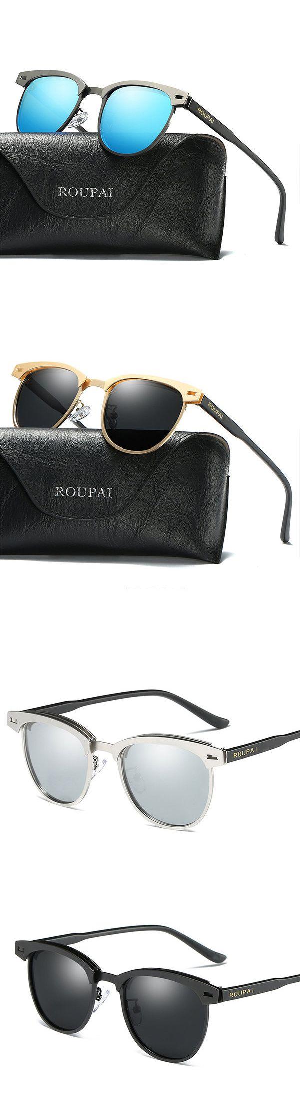 Retro Casual Anti-UV Polarized Sunglasses Travel Eye Protection Metal Frame Glasses For Women Men