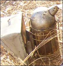 image of a smoker with which to calm bees
