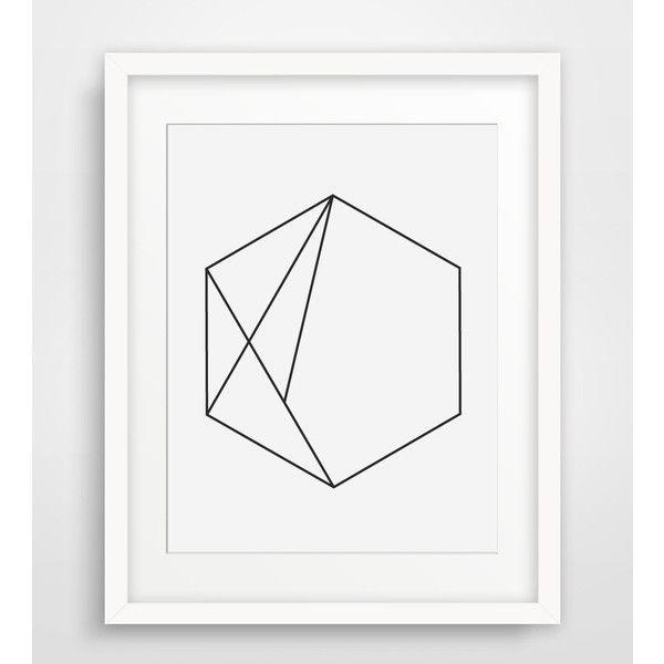 hexagon art minimalist geometric print minimalist wall art hexagon