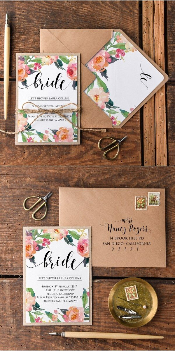 Rustic watercolor kraft paper bridal shower invitations #rusticwedding #weddingideas #springwedding #countrywedding
