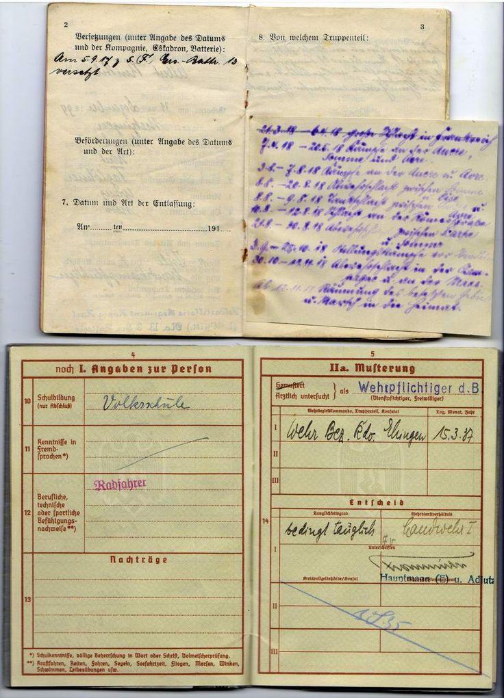 Военный билет 1МВ и 2МВ на одного немца.