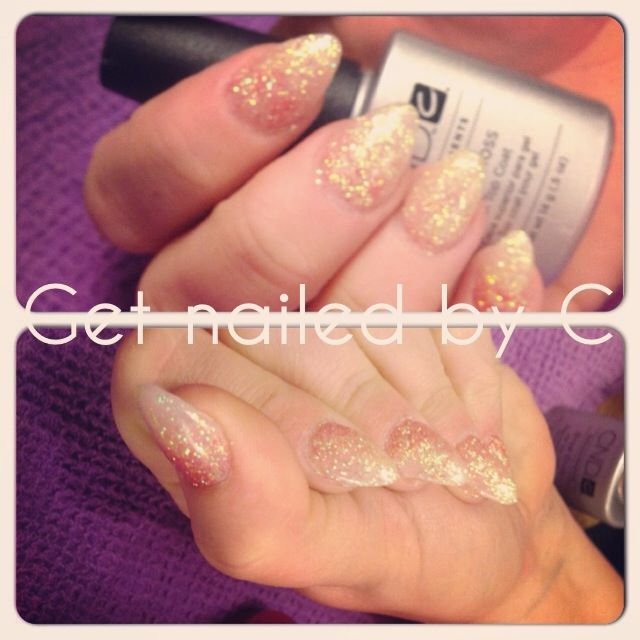 Cnd gel nails, ombre glitter yellow/red