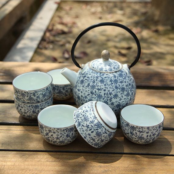 Blue And White Porcelain Japanese Tea Set by UMITEA on Etsy, $46.98