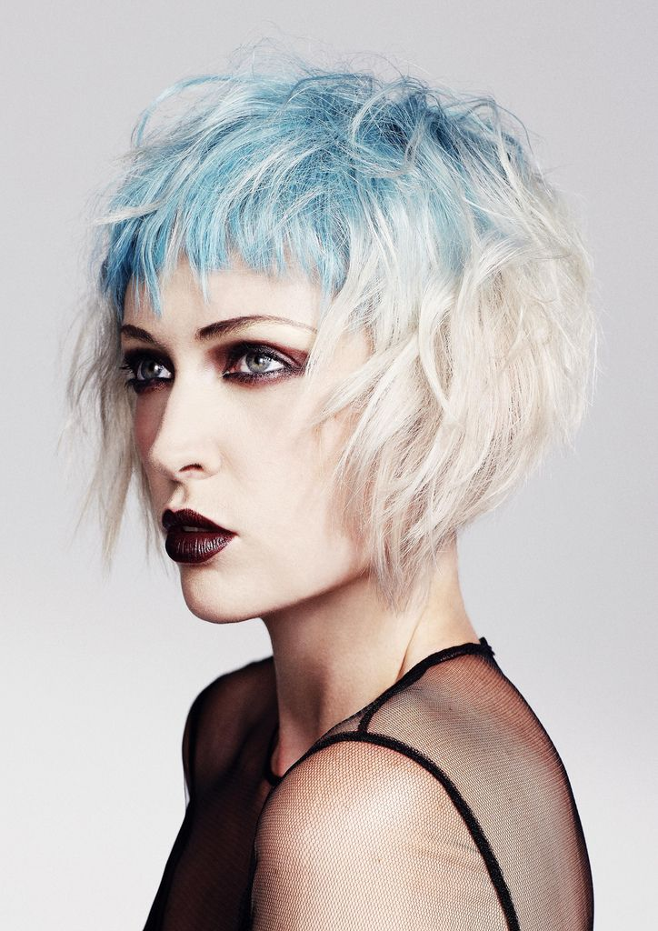 love how the blue and blonde blend.... #shorthair #reverseombré #color #hairstyle #fringe #graduatedbob