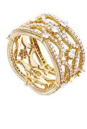 Judith Ripka 18k gold pave diamond ring