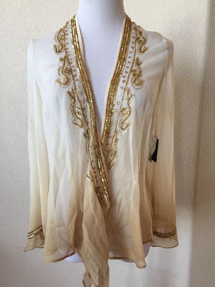 REBA Tan Gold Sequin Beaded Sheer Open Front Cardigan Coverup Silk Sz Small NWT #Reba #OpenCoverUpCardigan #Dressy