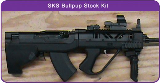 Introducing our new U.S. made SKS BULLPUP STOCK KIT. It is an affordable, effective, defensive stock option, made out of heat stabilized, reinforced polymer with oak and steel barriers and reinforcements.  Our bullpup stock kit conversion radically modernizes the SKS rifle. Although the SKS is known for its rugged durability, in its original military configuration, it is too long, front heavy and difficult to quickly reload.